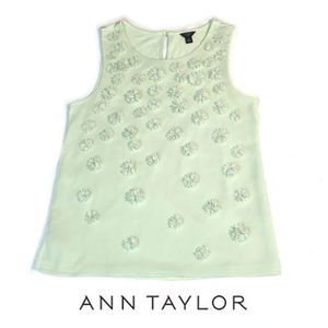 Ann Taylor Sleeveless Top with Pearl Flowers